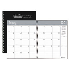 One-Year Monthly Hard Cover Planner, 8 1/2 x 11, Black, 2018