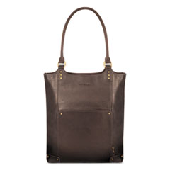 "Executive Leather/Poly Bucket Tote, 16"", 15 1/2"" x 4 3/4"" x 17 1/4"", Espresso"