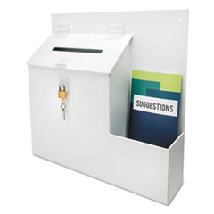 Plastic Suggestion Box with Locking Top, 13 3/4 x 3 5/8 x 13 15/16, White