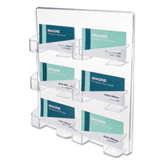 Six-Pocket Wall Mount Business Card Holder, Holds 480 2 X 3 1/2 Cards, Clear