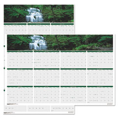 Recycled Waterfalls of the World Reverse/Erase Yearly Wall Calendar, 24x37, 2018