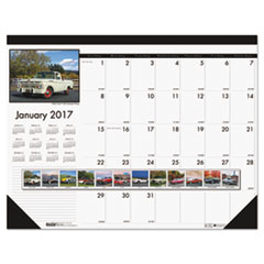 Recycled Classic Cars Photographic Monthly Desk Pad Calendar, 18 1/2 x 13, 2018