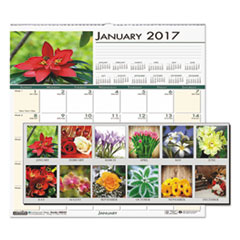 Recycled Floral Monthly Wall Calendar, 12 x 12, 2017