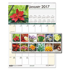 Recycled Floral Monthly Wall Calendar, 12 x 16 1/2, 2017