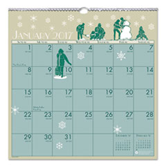Recycled Illustrated Monthly Wall Calendar, 12 x 12, 2017