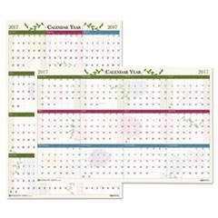 Recycled Floral Reversible/Erasable Wall Calendar, 24 x 37, 2017