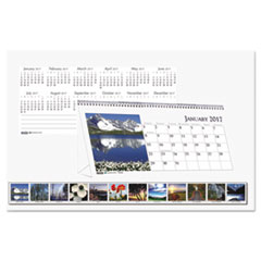 Recycled Scenic Photos Desk Tent Monthly Calendar, 8 1/2 x 4 1/2, 2017