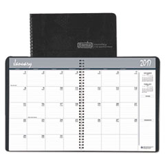 Recycled Ruled Monthly Planner, 14-Month Dec.-Jan., 6 7/8x8.75, Black, 2016-2018