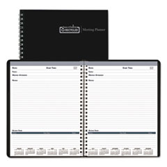 Recycled Meeting Note Planner, 8 1/2 x 11, Black/Blue, 2017