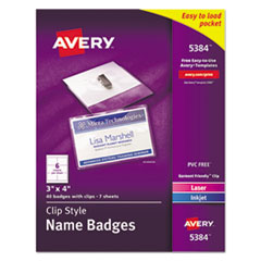 Badge Holder Kit w/Laser/Inkjet Insert, Top Load, 3 x 4, White, 40/Box