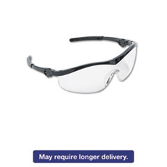 Storm Wraparound Safety Glasses, Black Nylon Frame, Clear Lens, 12/Box