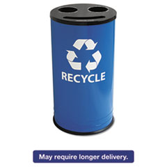 Round Three-Compartment Recycling Container, Steel, 14gal, Blue/Black