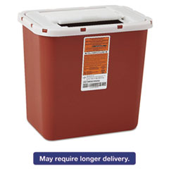 Sharps Container, Freestanding/Wall Mountable, 8qt, 23 1/2 x 19 7/10 x 28, Red