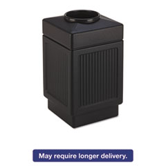 Canmeleon Top-Open Receptacle, Square, Polyethylene, 38gal, Textured Black