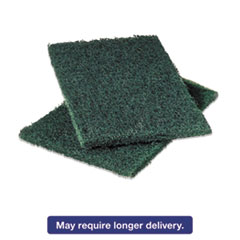 Commercial Heavy-Duty Scouring Pad, Green, 6 x 9, 12/Pack