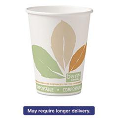 Bare PLA Paper Hot Cups, 12oz, White w/Leaf Design, 50/Bag, 20 Bags/Ca SCC412PLNJ7234
