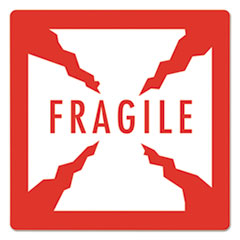 "Pre-Printed Shipping Labels, 4 x 4, ""FRAGILE"", 1500/Roll, 4 Rolls/Carton"