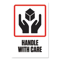 "Pre-Printed Shipping Labels, 4 x 6, ""HANDLE WITH CARE"", 1000/Roll, 4 Roll/Carton"