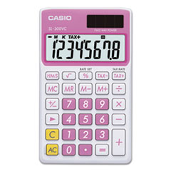 SL-300SVCPK Handheld Calculator, 8-Digit LCD, Pink