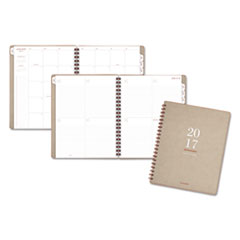 Collection Wirebound Weekly/Monthly Planner, 8 3/8 x 11, Tan, 2017-2018