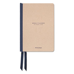 Collection Bookbound Weekly/Monthly Planner, 5 3/8 x 8 1/4, Tan/Navy, 2017-2018