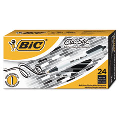 Clic Stic Retractable Ballpoint Pen, Black, 1mm, Medium, 24/Pack