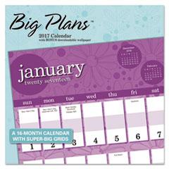 Landmark Big Plans Wall Calendar, 12 x 11, 2017-2018