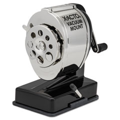 KS Manual Vacuum Mount Classroom Pencil Sharpener, Black/Nickel-plated