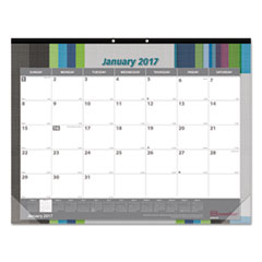 Monthly Deskpad Calendar, Chipboard, Geometric, 22 x 17, 2017