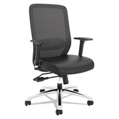 VL721 Series Mesh Executive Chair, Mesh Back, SofThread LeatherSeat, Black