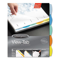 View-Tab Paper Index Dividers, 5-Tab, Square, Letter, Assorted