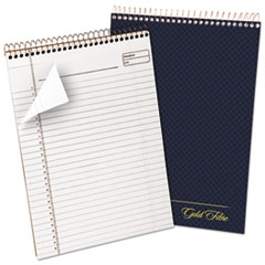 Gold Fibre Wirebound Writing Pad w/Cover, 8 1/2 x 11 3/4, White, Navy Cover