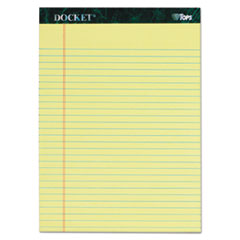 Docket Ruled Perforated Pads, 8 1/2 x 11 3/4, Canary, 50 Sheets, 6/Pack