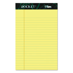 Docket Ruled Perforated Pads, 5 x 8, Canary, 50 Sheets, Dozen