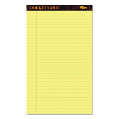 Docket Ruled Perforated Pads, 8 1/2 x 14, Canary, 50 Sheets, Dozen
