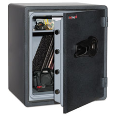 One Hour Fire and Water Safe w/Biometric Fingerprint Lock, 2.14 cu. ft, Graphite