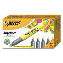 Brite Liner Grip Highlighter, Chisel Tip, Fluorescent Yellow, Dozen