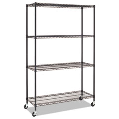 Complete Wire Shelving Unit w/Caster, Four-Shelf, 48 x 18 x 72, Black