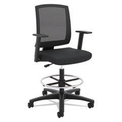 VL515 Mid-Back Mesh Task Stool with Fixed Arms, Black