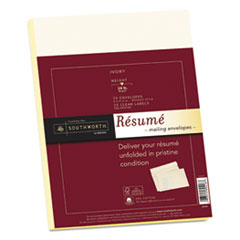 25% Cotton Resume Envelopes, Ivory, 24lb, 9 x 12, Wove, 25/Box