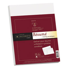 25% Cotton Resume Envelopes, White, 24lb, 9 x 12, Wove, 25/Box