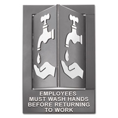 Pop-Out ADA Sign, Wash Hands, Tactile Symbol/Braille, Plastic, 6 x 9, Gray/White
