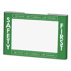 Clear Plastic Sign Holder w/Safety First Border, Green/White/Clear, 11 x 8 1/2