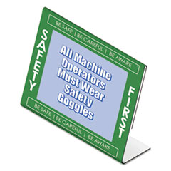 "Themed ""Safety First"" L-Shaped Sign Holder, Green/White/Clear, 11 x 8 1/2"
