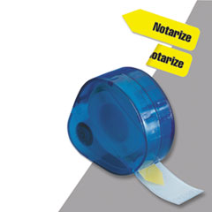 "Arrow Message Page Flags in Dispenser, ""Notarize"", Yellow, 120 Flags/Dispenser"