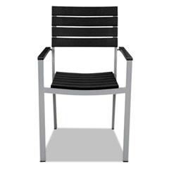 Tiki Stacking Arm Chair, 20w x 23d x 35h, Black/Silver, 2/Carton