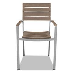 Tiki Stacking Arm Chair, 20w x 23d x 35h, Gray/Teak, 2/Carton
