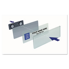 Name Badge Starter Kit, Laser Inserts, 1 x 3, White/Silver