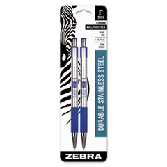 F-301 Retractable Ballpoint Pen, Blue In, Fine, 2/Pack