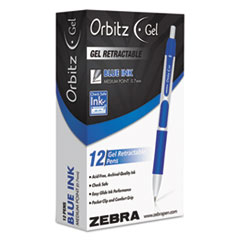 Orbitz Retractable Gel Pen, Medium, Blue Ink, 0.7mm, Dozen